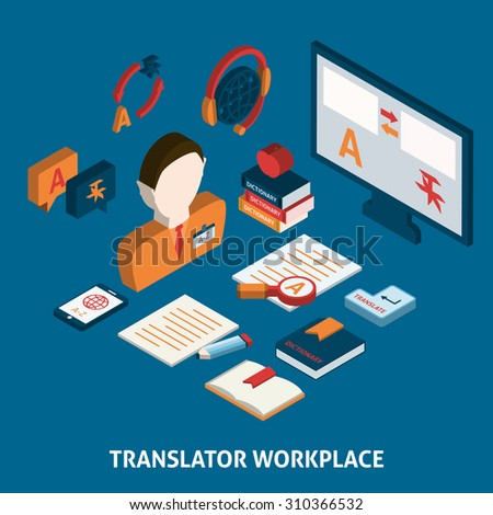 Translator workplace isometric icons composition with computer dictionaries and mobile electronic devices  poster print isolated  illustration - stock photo