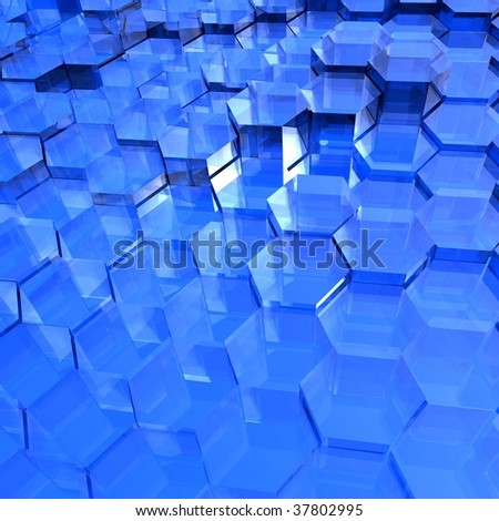 Translucent blue hexagon background with an ice or glass appearance.