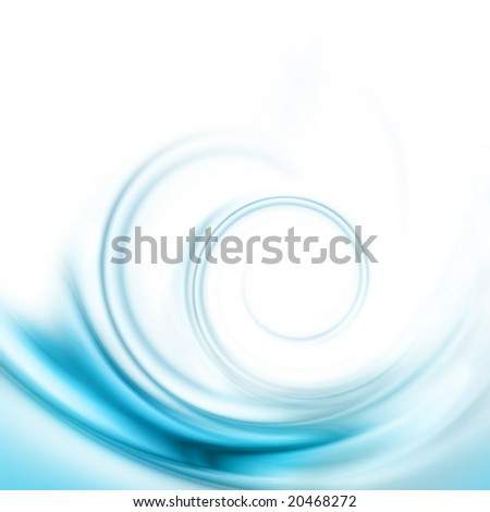Translucent blue swirl on a white background