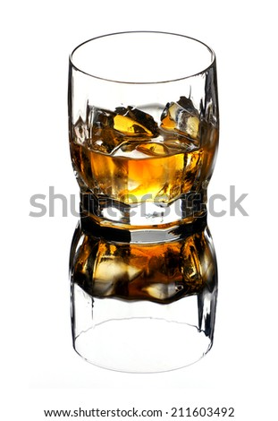 translucent brown-gold whiskey with ice cubes in glass and his reflection isolated on white