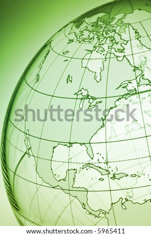 Translucent globe with backlit background - stock photo
