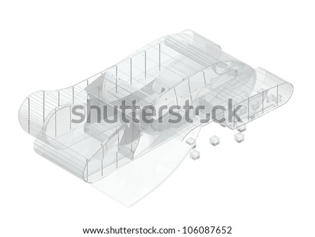 Translucent modern architecture concept - stock photo
