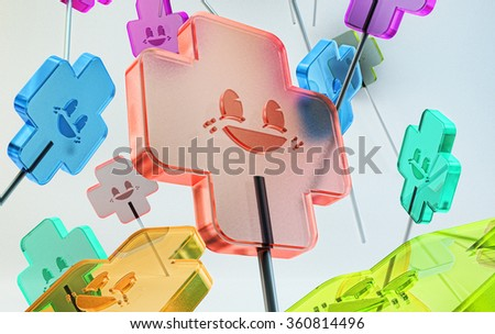 translucent multicolored sweet candies with emoticons on sticks. colorful candy on white background isolated - stock photo