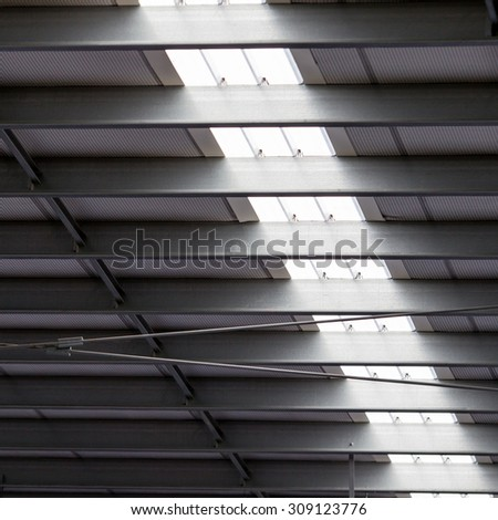 Translucent roof in stadium.