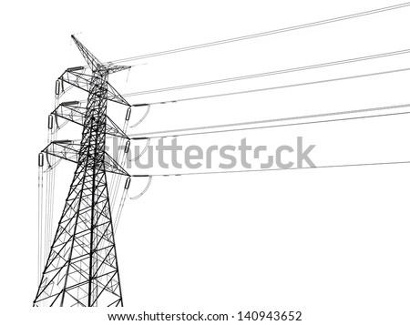 transmission line - stock photo