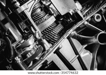 Transmission of the car close-up black and white - stock photo