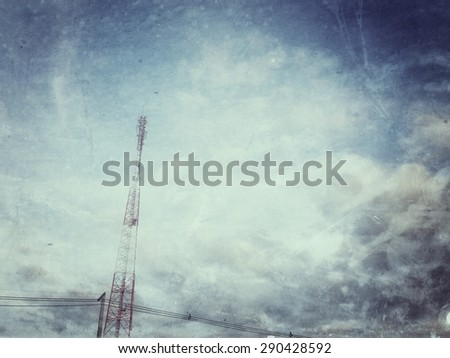 transmission tower against sky and clouds,instagram filter - stock photo
