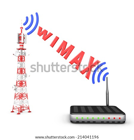 Transmitted by the tower, the modem, the signal and the inscription WIMAX - stock photo