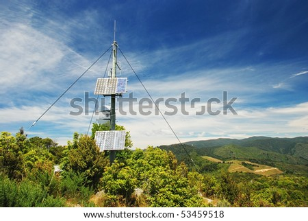 Transmitter on the hill - stock photo