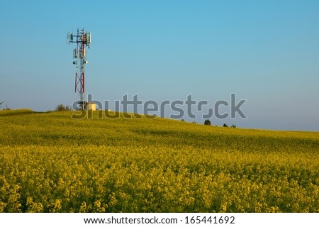 Transmitter tower above a blooming rapeseed field - stock photo
