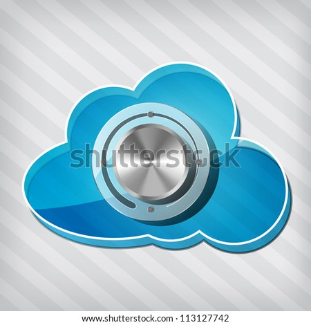 transparency blue cloud computing icon with chrome volume knob on a stripped background - stock photo