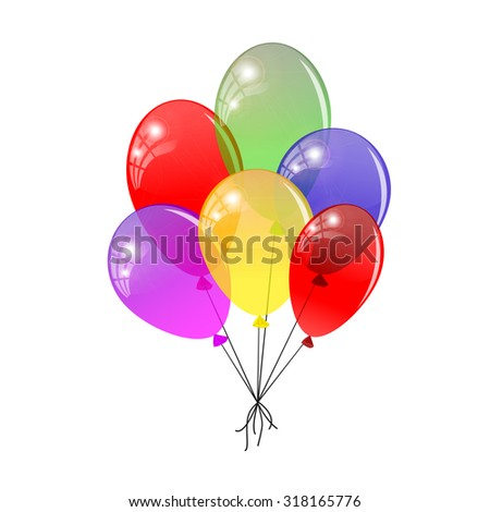 Transparent balloons. Multicolored balloons gathered in a bunch. Rasterized version. - stock photo