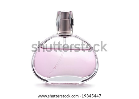 transparent bottle of pink perfume isolated - stock photo