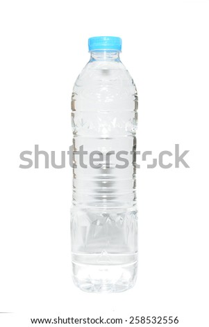 transparent bottle with water isolated on a white background - stock photo