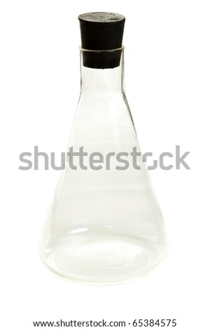 Transparent chemical flask with stopper on white background - stock photo