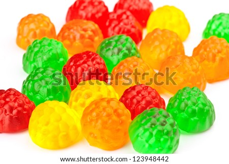 transparent colored jellybeans group - stock photo