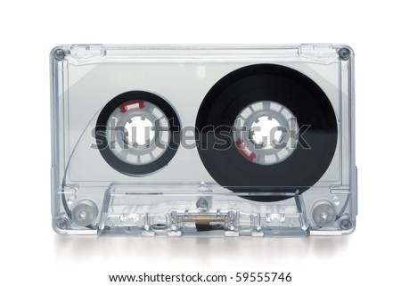 Transparent compact cassette tape isolated on whit - stock photo