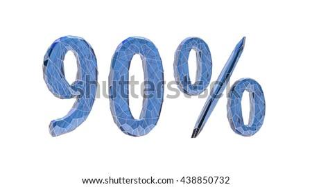 transparent crystal, number set, 9, nine, 0, zero, nil, percent,3d illustration - stock photo