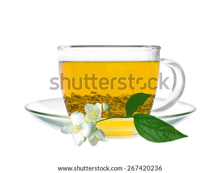 Transparent cup of green tea and jasmine flower isolated on white background - stock photo
