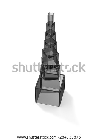 Transparent dark glass tower with shadow on white - stock photo