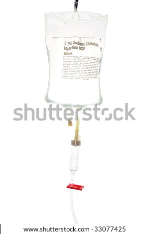 Transparent drip bag and tubing over white background