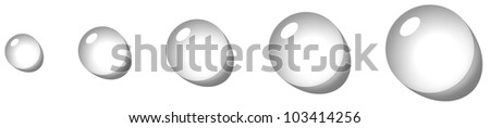transparent drop icon set with shadow on white background illustration - stock photo
