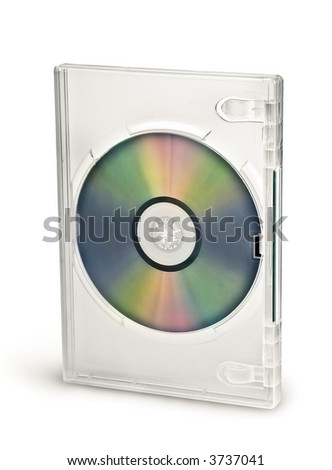 Transparent dvd cd case with disc - stock photo