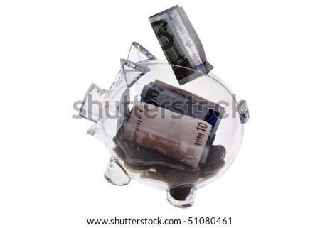Transparent flying piggy bank isolated on white - stock photo