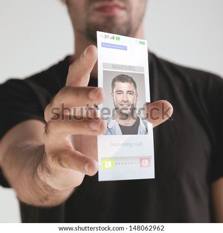 Transparent future mobile phone made of graphene. Concept.  Graphene application - stock photo