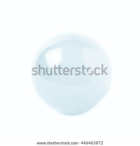 Transparent glass ball sphere isolated over the white background - stock photo