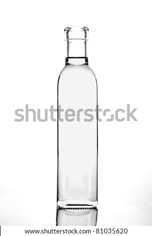 transparent glass bottle - stock photo