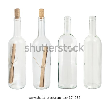 Transparent glass bottle isolated over white background, set of four, with the message and empty - stock photo