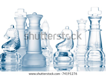 transparent glass chess isolated on white background - stock photo