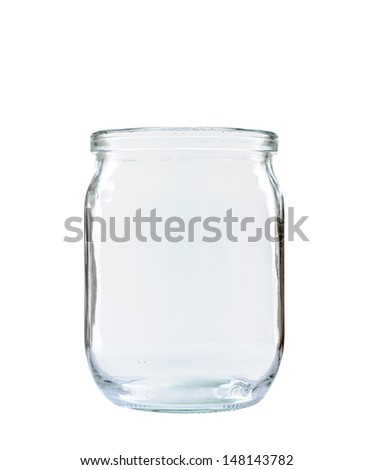 Transparent glass jar without lid, isolated on white background