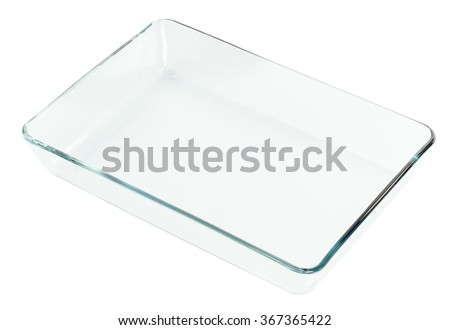 transparent glass tray empty, isolated on white - stock photo