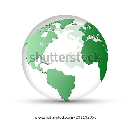transparent glass world globe isolated on white background - stock photo