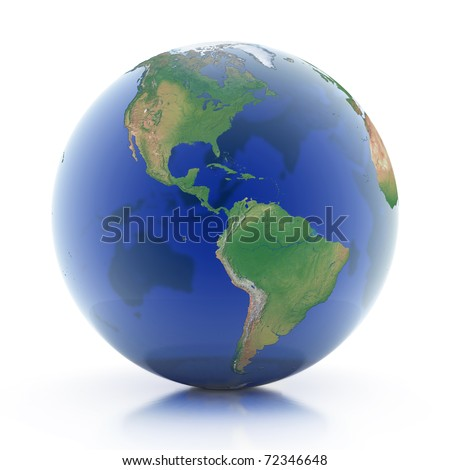 transparent globe 3d illustration - planet earth isolated over white background
