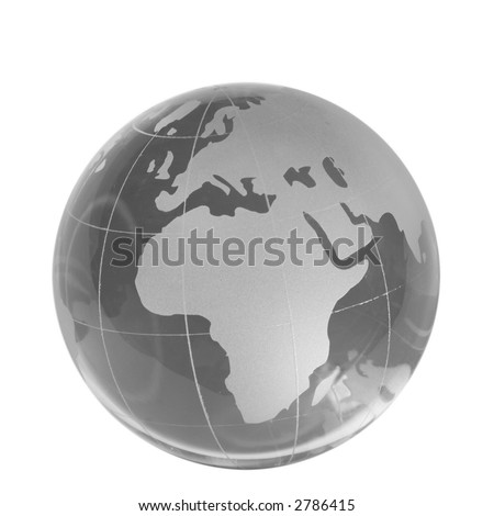Transparent globe, eastern countries, isolated white