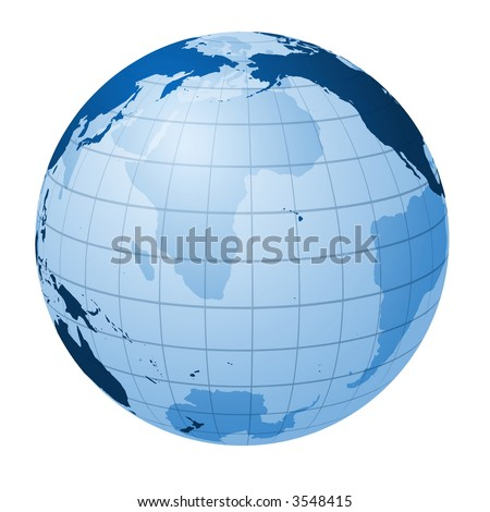 Transparent globe focused on the Pacific Ocean