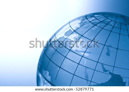 Transparent globe showing Europe,Mideast and North Africa. - stock photo