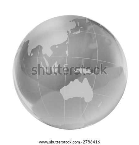 Transparent globe, southern countries, isolated white - stock photo