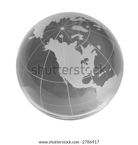 Transparent globe, western countries, isolated white - stock photo