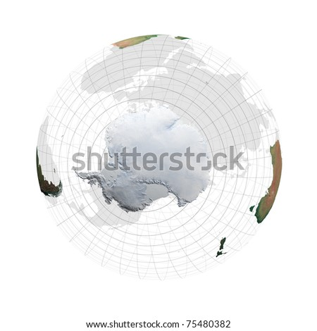 transparent globe with continents against a white background - stock photo