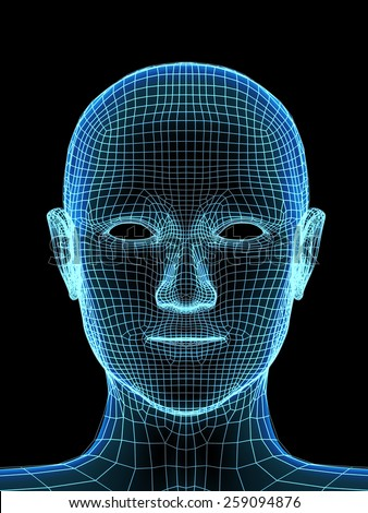 Transparent human head. X-ray and mesh - stock photo