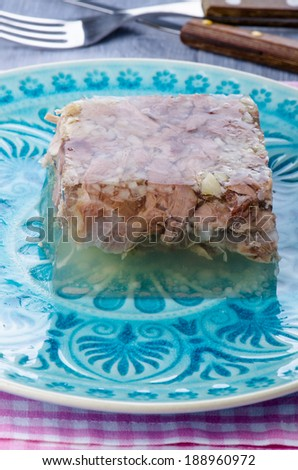 transparent jelly of beef with horseradish - stock photo