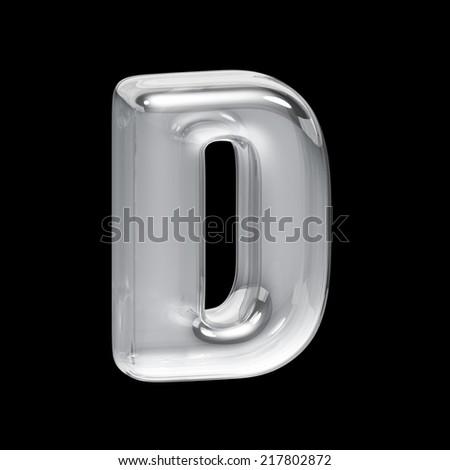 Transparent letter D. Glass alphabet on a black background. - stock photo
