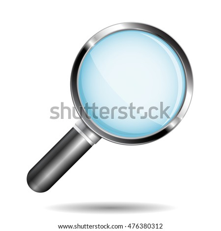 Transparent magnifying glass. Illustration isolated on white background. Raster version