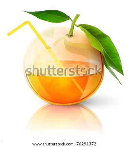 Transparent orange, concept image of fresh orange juice - stock photo