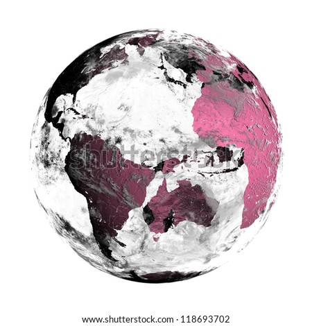 Transparent pink globe with clouds, isolated on white. Elements of this image furnished by NASA. - stock photo