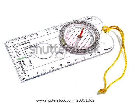 transparent plastic compass with yellow cord on white background